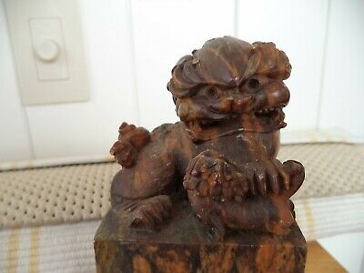 Chinese Carved Soapstone Foo Dog Chop Seal antique circa 1890