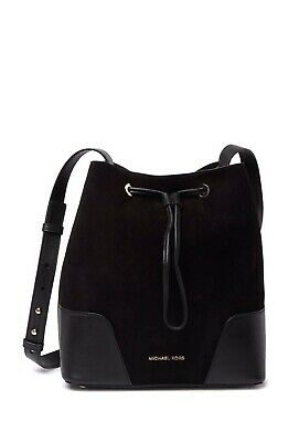 michael michael kors MD Suede Leather Bucket Bag Black . Great Deal !