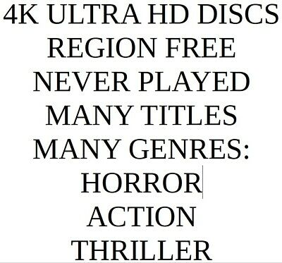 4K Ultra Hd Discs | Region Free | Never Played | Horror | Action | Thriller