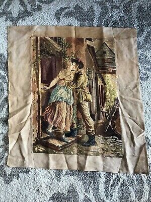 Large antique French needlepoint petite point tapestry romance couple kissing