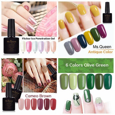 MS.QUEEN 10ml Gel Polish Top Base Coat Flicker Ice/Antique Color/ Glitter Pearl