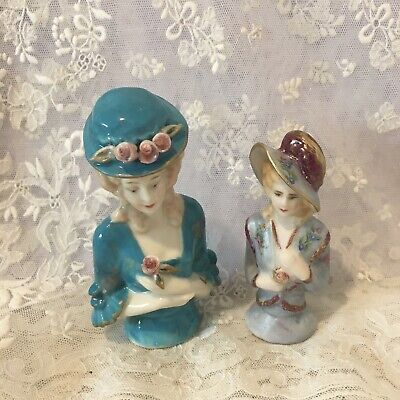 """2  Porcelain Half dolls """"Harriet and Jessica""""  are approx 9 cms and 7.5 cms"""