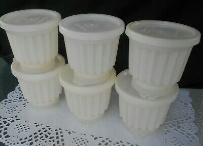 6 Small Vintage Tupperware Jelly Mould  Cups with Seal lids and Tops