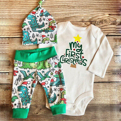 Newborn Infant Baby Boy Girl Xmas Outfit Clothes Romper Tops+Pants+Hats Set