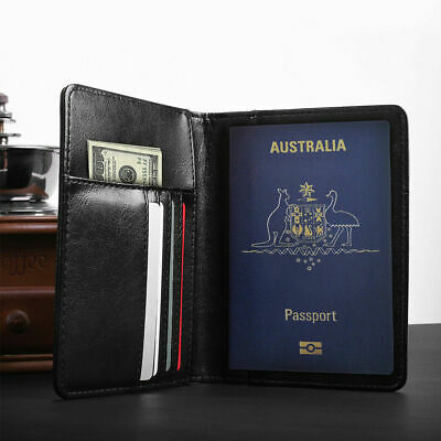 Black PU Leather RFID Blocking Passport Travel Wallet Holder ID Cards Cover Case