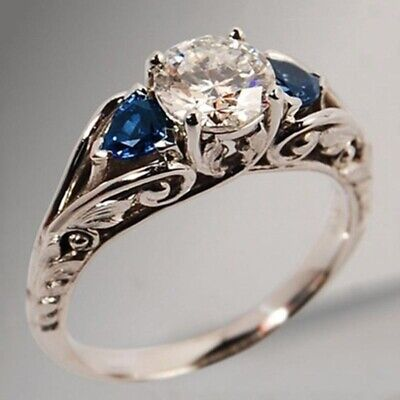 Antique Silver Plated White & Blue Sapphire Rings Engagement Jewelry Ring Gift