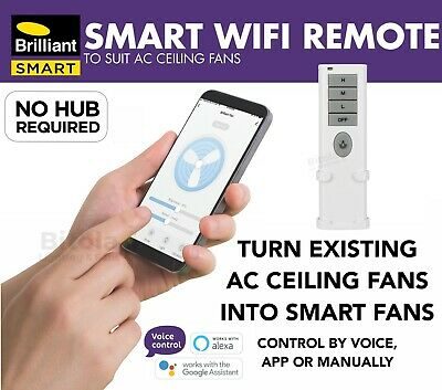 New Brilliant Smart Wifi Ceiling Fan Remote Control And Wall Transmitter Kit