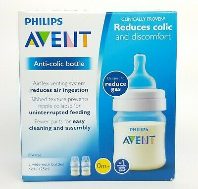 Phillips Avent Anti Colic Bottle Reduces gas 2 Wide Neck Bottles 4 oz