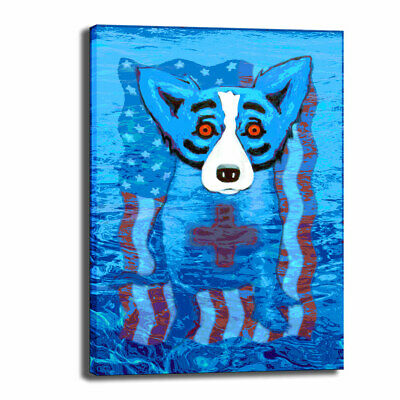 HD Print Canvas Blue Dog Cartoon Animal Wall Art Painting Home Wall Decor 16x22