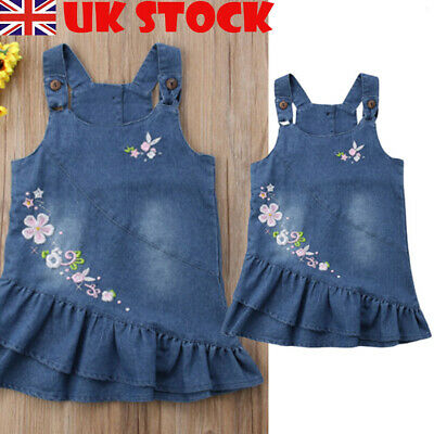 Baby Kids Girl Denim Blue Floral Ruffle Bib Dungaree Summer Pinafore Dress 0-4Y
