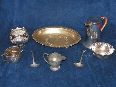 Seven, Antique/Vintage Silver Plate Items & One Pewter Item.{Total Eight Items}