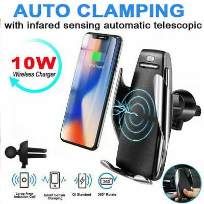 QI Wireless Car Charger Air vent Mount Phone Holder Charging Automatic Clamping