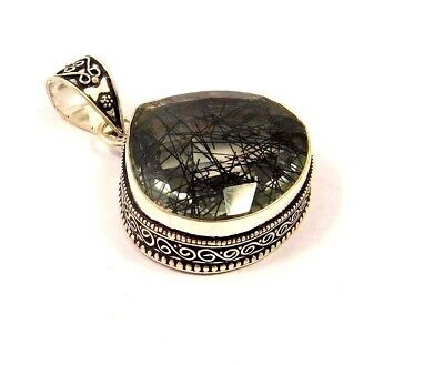 Black Needle Rutile Silver Plated Hand Carving Pendant Jewelry JC3485