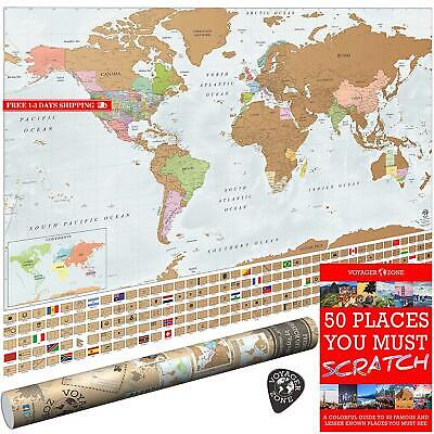 Scratch Off World Map By Voyager Zone - Made In Usa - 24X36 Extra Large Size Wal