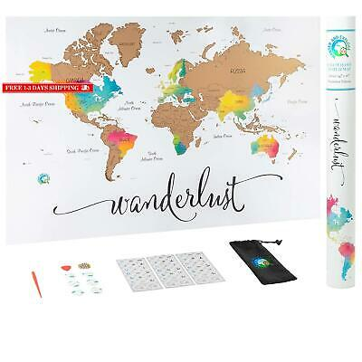 Scratch Off Map Of The World | Deluxe Watercolor Wanderlust Edition | Xl Size 24