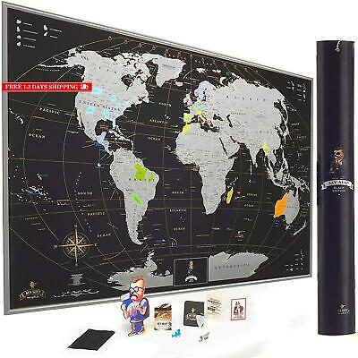 Deluxe Silver Scratch Off Map Of The World Wall Poster With Us States, Extra-Lar