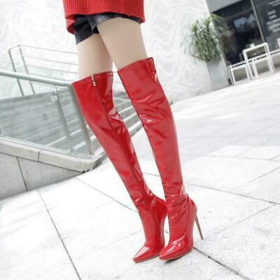 Sexy Womens Patent Leather Stiletto Heel Nightclub Thigh Over Knee Thigh Boots W
