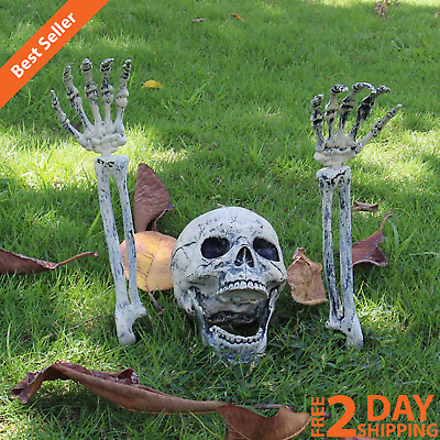 Realistic Lawn Yard Outdoor Groundbreaker Scary Skeleton Stakes Halloween Decor