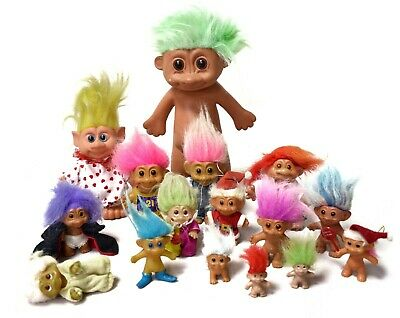 Bundle Set of 16 RUSS Troll Dolls - Different sizes - Vintage Collectables