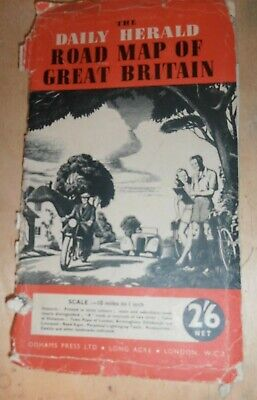 Vintage paper road map of Great Britain, Daily Herald 2/6 price, 10miles :1 inch
