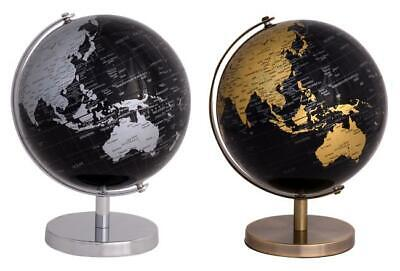 Rotating World Globe Swivel Stand Teaching Geography Ball Gift Gold Silver 16cm