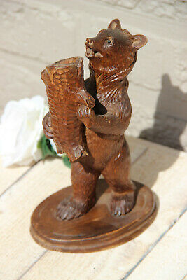 Antique hand Black forest wood carved swiss bear statue candle holder
