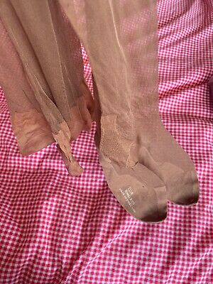 Silk Top Vintage Stockings L'OR Ringless Tan Brown 1940s Made In England L153
