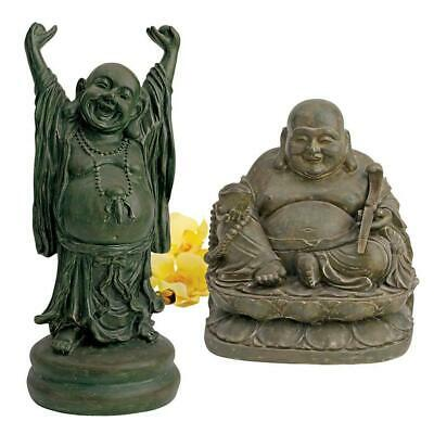Asian Chinese Jolly Hotel And Laughing Buddha Sanctuary Statue - Set Of 2