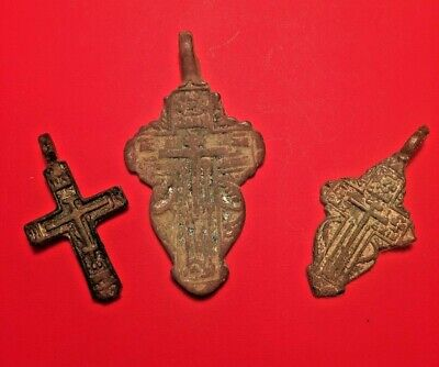 Antique Kievan Christian Orthodox Russian Bronze Cross Pendants LOT of 3