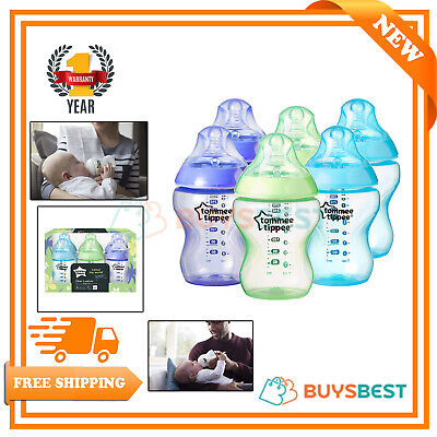Tommee Tippee Colour My World Baby Feeding Bottles 260 ml, 6 Count - 422414