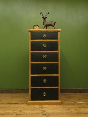 Narrow Pine Chest of Drawers, Antique Office Wellington type Chest, Upcycled