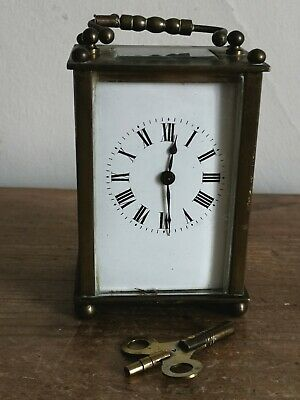 Antique French Brass Carriage Clock & Key - Fully working - 11cm Tall