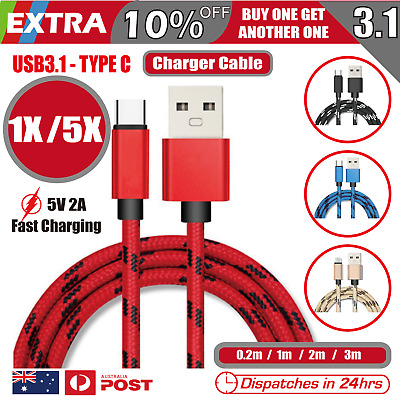 5X Type-C USB-C 3.1 Male Data Snyc FAST Charger Charging Cable Samsung Galaxy
