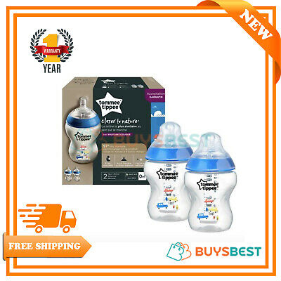 2x Tommee Tippee Closer to Nature Decorated Bottles 260ml Blue - 42252130