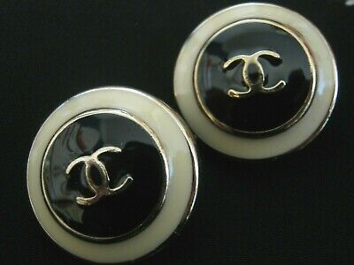 CHANEL  2 BLACK off WHITE GOLD CC  21mm BUTTON THIS IS FOR TWO FLAWLESS