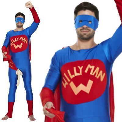 Willy Man Fancy Dress Costume Outfit Stag Night Mens Adult Halloween Superhero