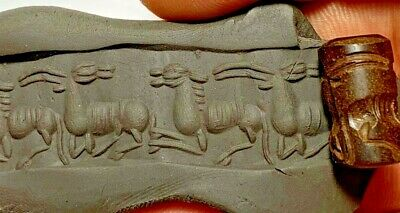INTACT VERY RARE ANCIENT NEAR EASTERN CYLINDER SEAL 300 BC 4.5gr 17.1mm