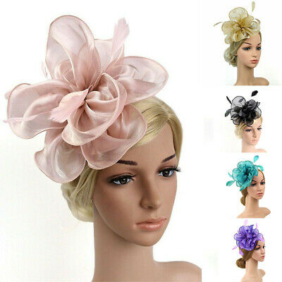 Feather Fascinator Wedding Alice Ladies Royal Flower Ascot Band Race Headband