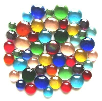 50 x Mixed Rainbow Glass Mosaic Pebbles Gem Stones - Assorted Colours & Sizes