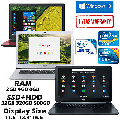 Acer Laptop Aspire 15 Intel Core i5 i3 RAM 4GB 8GB SSD HDD 500GB 1TB Chromebook