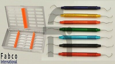 Gracey Curette Multi Colour Set Of 7 Hollow Handle With Sterilization Cassette