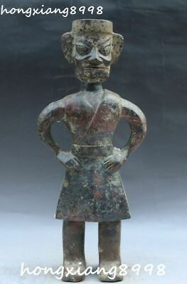 """11"""" Old Chinese Bronze Ware Place Stand Sanxingdui Man Person People Statue"""