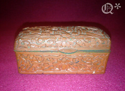 Antique Chinese Hand Carved Cinnabar Red Lacquer Box w Scholar Scene