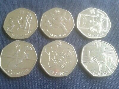 Set of 6 Olympic 50p coins