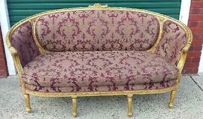 Antique French Louis Xv Style Upholstered Gilded Salon Sofa Settee Lounge