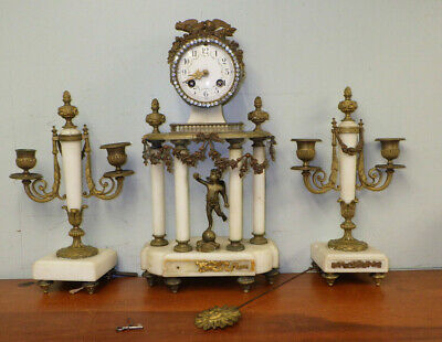 Antique French White Marble Garniture Clock Set Ormolu Cherubs Putti