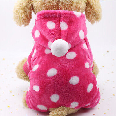 Soft Flannel Button Dog Clothes Color Stripes Lovely Pet Winter Keep Warm Hoodie