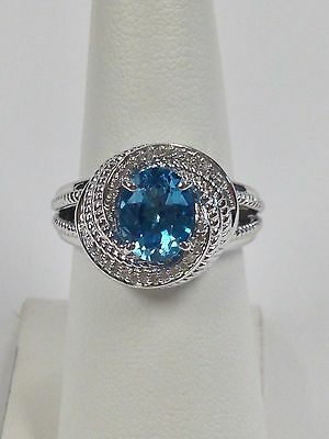 Sterling Silver Ring Blue Topaz and Diamond