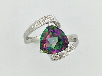 Mystic Topaz and Diamond Ring in Sterling Silver