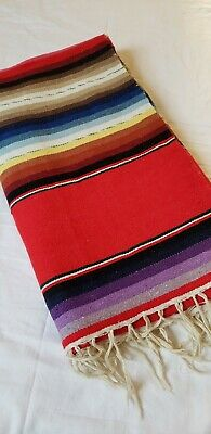 Mexican Style Striped Fringed Woven Wool Rug Blanket Throw red blue white